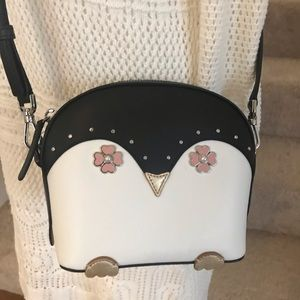 Kate spade penguin frosty black crossbody white